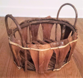 Unique Vintage Large Hand Made Wicker Stick Basket Wood Decor Storage Handles in Chicago, Illinois