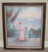 ART - Framed Painting - Pastel Colors - Woman & Child on Dock in Joliet, Illinois
