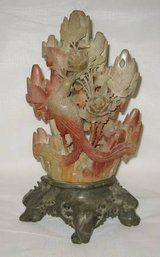 VINTAGE ORIENTAL JADE & SOAPSTONE CARVED FLORAL 3D ACCENT PIECE in Batavia, Illinois