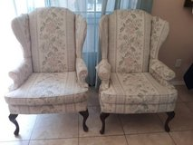 Pair of Matching Upholstered High Back Chairs With Wood Feet in San Diego, California