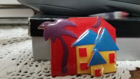 "1 ""HOUSE PINS by Lucinda"" - Yellow House w/ Blue Roof plus Palm Tree and Moon in Spring, Texas"