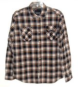 Mens 2X Akademiks Plaid 2 Pocket Shirt w Shoulder Epaulette Blue Orange White in Chicago, Illinois