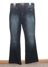 Womens 4 Long Express Eva Fit Flare Denim Jeans Womens 4L 4 x 34 Long Tall Dark Wash Stretch in Shorewood, Illinois