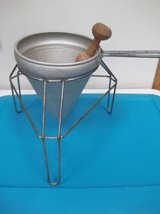 Vintage Cone Strainer, Colander, And Wood Pestle On Stand in Brookfield, Wisconsin