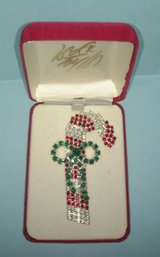 rhinestone candy cane pin or brooch in lord taylor presentation box in St. Charles, Illinois