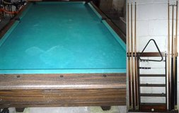 Vintage Pool Table + Wall Mount Cue Rack in Lockport, Illinois