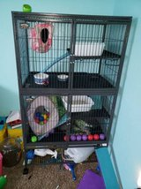 Ferret cage and supplies, in Fort Carson, Colorado