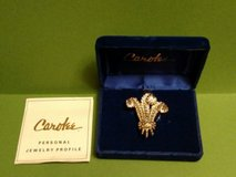 carolee duchess of windsor triple feather plume crystal  brooch pin boxed in St. Charles, Illinois