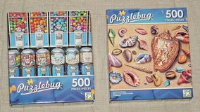 NEW Lot of 2 Puzzle Bug 500 Piece Jigsaw Puzzles Seashells Candy Gumball Machine in Yorkville, Illinois