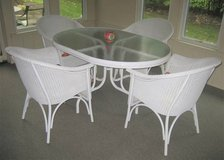 White Rattan Patio Set - Oval Glass Top Table and 4 Chairs in Bolingbrook, Illinois