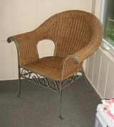 Rattan Sunroom / Patio Chair - Wrought Iron Frame in Bolingbrook, Illinois