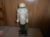 "14""  Wood Nutcracker Figure!  Fisherman with Rod, Reel, and Fish! in Spring, Texas"