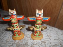 "Vtg Ceramic TOTEM POLE Salt & Pepper Shaker Set! 4"" tall    2pc  Made in Japan in Spring, Texas"