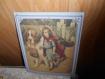 "Estate Sale Find! Thin Metal Tin Picture 9"" x 12"" Girl wearing red cape holding basket in Spring, Texas"
