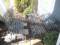 Wrought Iron Patio Furniture - 4 Chairs and Swing + Cushions in Chicago, Illinois