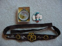 Antique 50s/60s Girl Scout Compass, Novelty Lapel Pin, Brownie Headban in Colorado Springs, Colorado