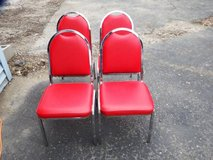 4 RED VINYL & CHROME STACKABLE  CHAIRS - HAVE 12 in Chicago, Illinois