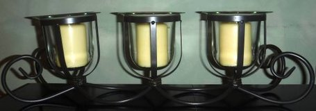 Large 3 Pillar Candle Holder ~ Glass w/Metal Stand in Bolingbrook, Illinois