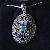 Marcasite and Blue Topaz Oval Pendant Sterling Silver Necklace Vintage Elegance in Shorewood, Illinois