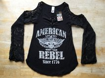 Liberty Wear American Rebel Black Bohemian Lace Top 7653 Women's Size SM in Bolingbrook, Illinois