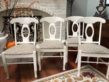 **  4 WHITE WOOD & UPHOLSTERED CHAIRS :  VERY NICE !! Made in Canada in Bolingbrook, Illinois