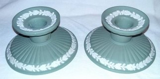 Pair Sage Green Wedgwood Candleholders in Westmont, Illinois