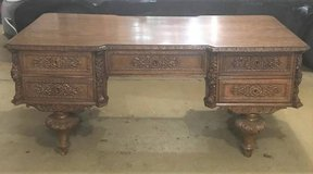 Antique 1870's German Partner's Desk - Very Ornate in Oswego, Illinois