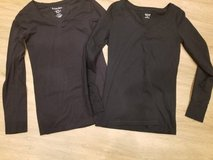 Junior size long sleeved new black stretchy v-neck shirts in Camp Pendleton, California