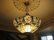 Tiffany Style Stained Glass Shade and Hanging Light Fixture in Chicago, Illinois