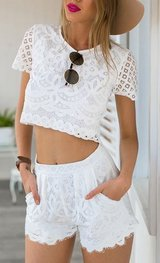New w/o Tags - White Lace 2-Piece Short Set - Shorts & Cropped Top, Lined, Small in Westmont, Illinois
