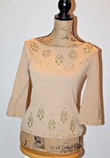 Joseph A. Caramel Colored Vintage Knit Top w/Delicate Stitching & Beading, Small in Shorewood, Illinois