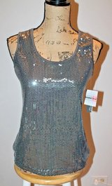 NWT - Glitzy Gray Sequin Front Tank Top from Covington Petite, Medium Petite in Shorewood, Illinois