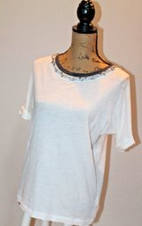 J.Crew Dressed Up Tee - Beige with Beautiful Beaded Detail at Neckline, X-Small in St. Charles, Illinois