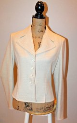 Elegant Ann Taylor Ivory Blazer with Gold Metallic Thread, LIned, Size 8 in Joliet, Illinois