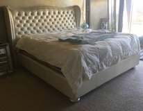 Hollywood Swank King Upholstered Bed, in Pearl, by Amini in Kingwood, Texas