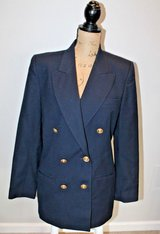 Vintage Talbots Navy Double Breasted Wool Blazer, Gold Buttons, Lined, Size 10 in Glendale Heights, Illinois