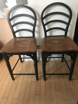 2 Two Tone Black Brown Counter Height Chairs in Joliet, Illinois