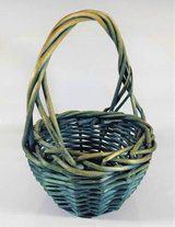 Blue Wicker Woven Basket Small Vintage Rustic Patina Shabby Country in Chicago, Illinois