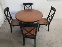 5pc Two Tone Cherry & Black Round Pedestal Dining Table Set in Joliet, Illinois
