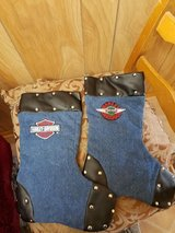 2  HARLEY DAVIDSON Christmas Stockings Blue Denim Faux Leather & Studs! in Spring, Texas