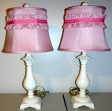 White Table / Desk Lamp w/ Pink Ruffle Shade ~Set of 2 in New Lenox, Illinois