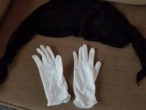 black scarf/tie and stretchy white gloves in Vista, California