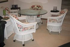Vintage Wicker by Henry Link / Lexington - Table and 4 Chairs - White in Naperville, Illinois