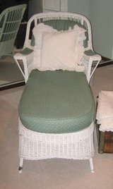 White Wicker Chaise Lounge with Pad in Naperville, Illinois