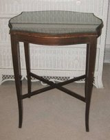Vintage Oval Wood Framed End Table with Glass Top in Naperville, Illinois