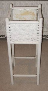 White Wicker Plant Stand - Square in Naperville, Illinois