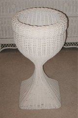 White Wicker Plant Stand - Round in Naperville, Illinois