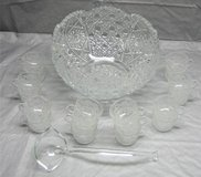 Vintage 20-Piece Clear Cut Glass Punch Bowl Set in Naperville, Illinois