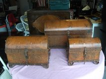 SET OF 3 CUSTOM MADE IN PORTUGAL RUSTIC PRIMITIVE TREASURE BOXES in Tinley Park, Illinois