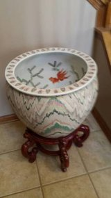 Hand Painted Chinese Porcelain Fish Bowl Planter with Stand in Bolingbrook, Illinois